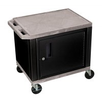 24 Inch 2 Shelf Plastic Rolling Utility (Service) Cart Black Cabinet