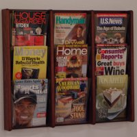 9 Pocket Solid Oak and Acrylic Literature Wall Display Rack - Mahogany