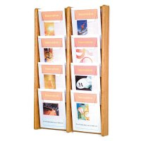 8 Pocket Oak and Acrylic Wall Mount / Literature Display Rack