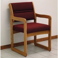 Office Waiting Room Guest Chair - Medium Oak - Cabernet Burgundy