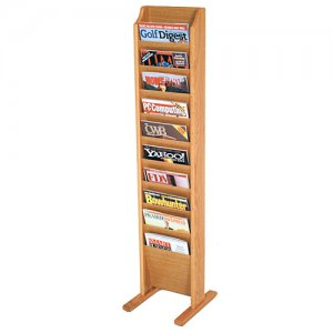 10 Pocket Wooden Floor / Display Magazine or Literature Rack