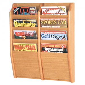 8 Pocket Wooden Wall Mount / Display Magazine or Literature Rack