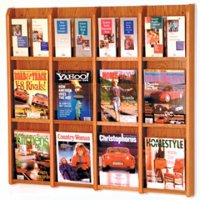 12 Magazine/24 Brochure Wall Display with Brochure Inserts -Medium Oak