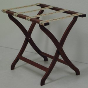 Designer Curve Leg Luggage Rack in Mahogany - Tapestry Straps