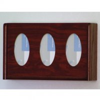 3 Pocket Glove/Tissue Box Holder - Oval - Mahogany