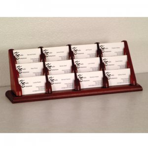 12 Pocket Countertop Business Card Holder - Mahogany