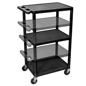 Adjustable Height (16-42 inch) Plastic Rolling Utility Cart- 3 Shelves & Electric