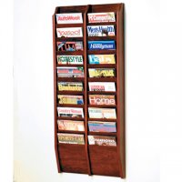 20 Pocket Wall Mount Magazine Rack - Mahogany