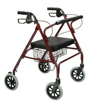 Bariatric Steel Rollator / Rolling Walker with Loop Locks - Red