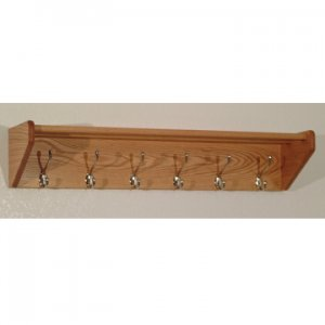 36 Inch Solid Oak Coat & Hat Rack With 6 Nickel Hooks - Light Oak