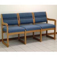 Office Waiting Room Three Seat Sofa - Medium Oak - Powder Blue
