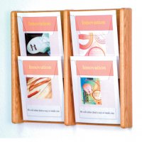 4 Pocket Solid Light Oak and Acrylic Literature Wall Display Rack
