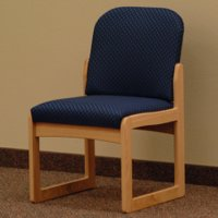 Office Waiting Room Armless Guest Chair - Light Oak - Arch Blue