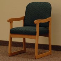 Office Waiting Room Guest Chair - Medium Oak - Leaf Green