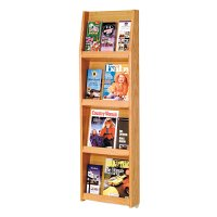 4 Magazine / 12 Brochure Oak Wall Display Literature Rack