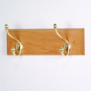 2 Hook Coat Rack with Brass Hooks - Light Oak