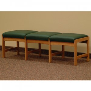 Three Seat Bench - Medium Oak - Green