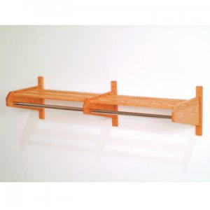 "72"" Light Oak Coat & Hat Rack With 5/8"" Diameter Chrome Hanger Bar"