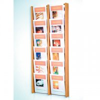 12 Pocket Oak and Acrylic Literature Wall Display Rack - Light Oak
