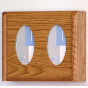 2 Pocket Glove/Tissue Box Holder - Oval - Medium Oak