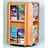 Spinning Counter Display 8 Magazine/16 Brochure Pockets - Light Oak