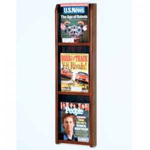 3 Magazine Wall Display - Mahogany