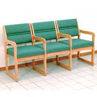 Reception and Waiting Room Three Seat Chair w/Center Arms - Light Oak - Folia