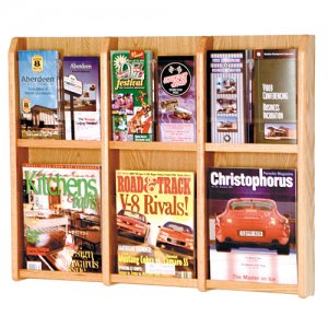 6 Magazine Oak and Acrylic Wall Mount / Literature Display Rack