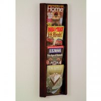 4 Pocket Solid Oak and Acrylic Literature Wall Display Rack - Mahogany