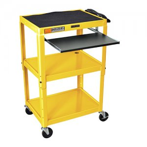 Yellow Adjustable Audio Visual (AV) Cart: Keyboard Drawer / Shelf