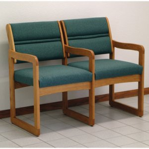 Office Waiting Room Two Seat Chair w/Center Arms - Medium Oak - Foliag