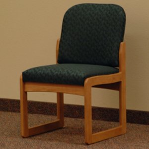 Office Waiting Room Armless Guest Chair - Medium Oak - Leaf Green