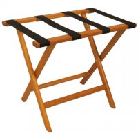 Deluxe Straight Leg Luggage Rack in Medium Oak - Black Straps