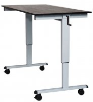 "DMD Adjustable Standing Desk, 60"" W, Sit or Stand Up Workstation, Black Oak, Silver Frame"