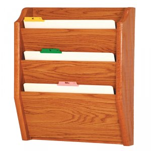 DMD Wood File Holder, Wall Mount, 3 Pocket Legal Size, Medium Oak Finish