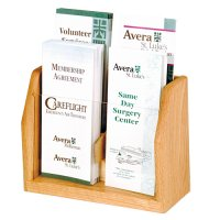 Four Pocket Wooden Countertop and Table Brochure Display