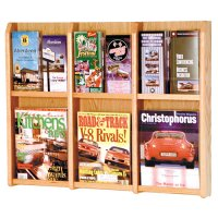 6 Magazine / 12 Brochure Oak and Acrylic Wall Display Literature Rack