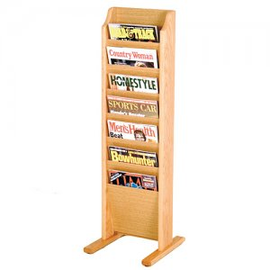 7 Pocket Wooden Floor / Display Magazine or Literature Rack