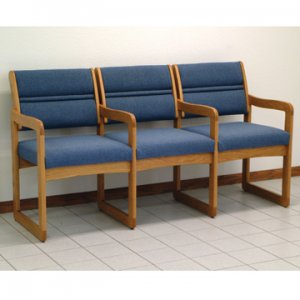 Reception and Waiting Room Three Seat Chair w/Center Arms - Medium Oak - Powd