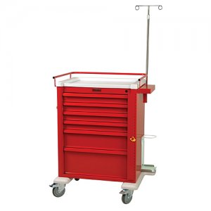 Universal 6 Drawer Aluminum Crash Cart with Emergency Package