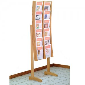 12 Pocket Wood and Acrylic Curved Floor / Literature Display Rack