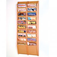 20 Pocket Wall Mount Magazine Rack - Light Oak
