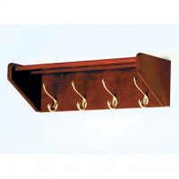 24 Inch Solid Oak Coat and Hat Rack with 4 Brass Hooks - Mahogany