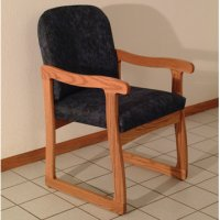 Office Waiting Room Guest Chair - Medium Oak - Watercolor Blue
