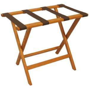 Deluxe Straight Leg Luggage Rack in Medium Oak - Brown Straps