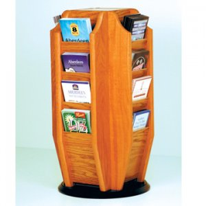 Spinning Countertop Display with 16 Brochure Pockets - Medium Oak
