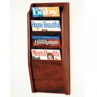 4 Pocket Wall Mount Magazine Rack - Mahogany