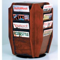Spinning Countertop Display with 16 Magazine Pockets - Mahogany