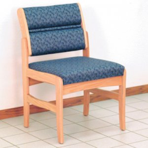 Office Waiting Room Armless Guest Chair - Light Oak - Leaf Blue