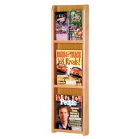 3 Magazine / 6 Brochure Oak and Acrylic Wall Display Literature Rack